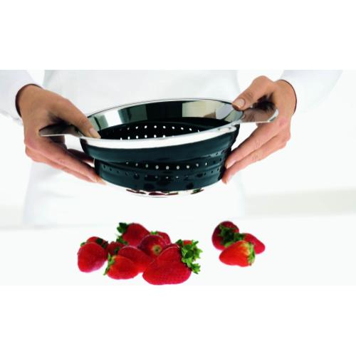 Product Image - Rosle Stainless Steel Foldable Colander Black, 9.5-Inches