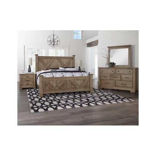 King Cool Rustic Stone X Bed with Footboard Storage
