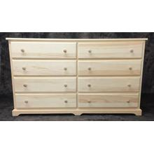Maine Made Traditional 8 Drawer 60 Dresser 60W X 34H X 18D Pine Unfinished