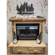 Rustic Red Pine Mantle Fireplace
