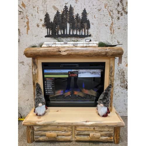 Best Craft Furniture - Rustic Red Pine Mantle Fireplace