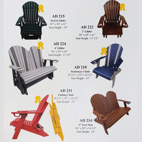 Gallery - Sunny Side Poly offers a full line of durable, composite patio furniture in a wide range of colors.  It's Amish made and made to last, right here in Wisconsin.