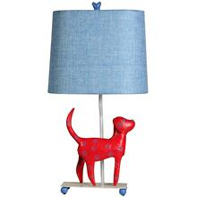 See Details - Mini Iron Dog Lamp, (Red Dog, Blue Shade)