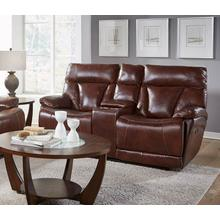 CORINTHIAN L94006-49HR Athens Brown Leather Power Reclining Console Loveseat