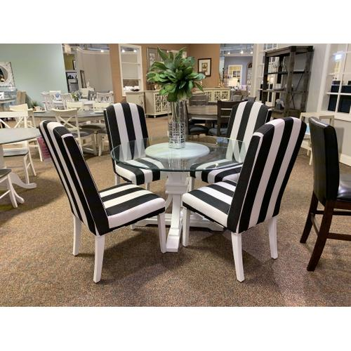 Canadel - Terra Glass Pedestal Table w. Sunbeam Upholstered Chairs (4)
