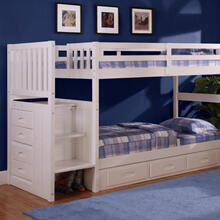 White Stair Stepper Twin over Twin Bunk Bed