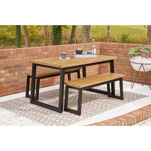 ASHLEY P220-115 Town Wood Outdoor Patio Table And 2 Benches