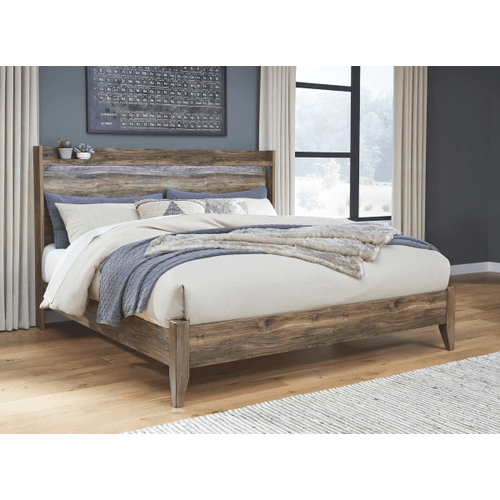 Rusthaven- Brown- King Panel Bed