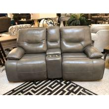 POWER LEATHER RECLINING CONSOLE LOVESEAT POWER HEADREST AND LUMBAR