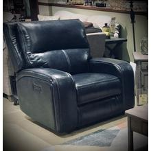 CONTEMPORARY LEATHER/VINYL POWER RECLINER in Dark Blue WITH USB PORTS AND POWER HEADREST    (WARE-L5168-1-4032,40099)