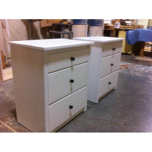 Shake Style Three Drawer Night Stands in White Lacquer Finish