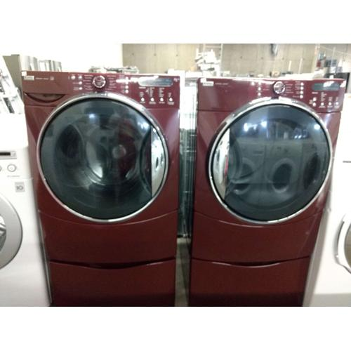 Refurbished Burgundy Kenmore Elite Front Load Washer Dryer Set On Pedestals. Please call store if you would like additional pictures. This set carries our 6 month warranty, MANUFACTURER WARRANTY AND REBATES ARE NOT VALID (Sold only as a set)