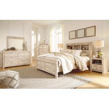 See Details - Willabry - Queen Bookcase Bed, Dresser, Mirror, 1 x Nightstand