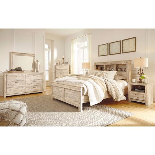 Willabry - Queen Bookcase Bed, Dresser, Mirror, 1 x Nightstand