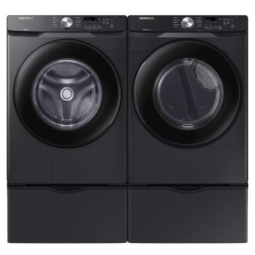 SAMSUNG Vibration Reduction Technology 4.5 Cu.Ft. Front Load Washer & 7.5 Cu.Ft. Electric Dryer with Pedestals - Black Stainless