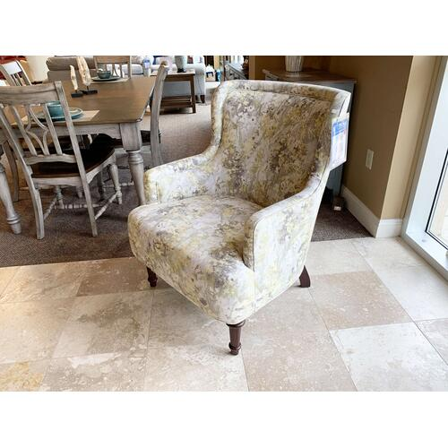 Yellow & Grey Pattern Upholstered Arm Chair