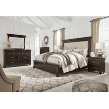 Brynhurst - Dark Brown - 7 Pc. - Dresser, Mirror, Chest, Nightstand & Queen Upholstered Bed