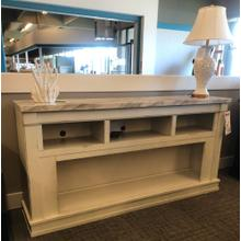 """See Details - 74"""" TV Stand with Faux Marble Top"""