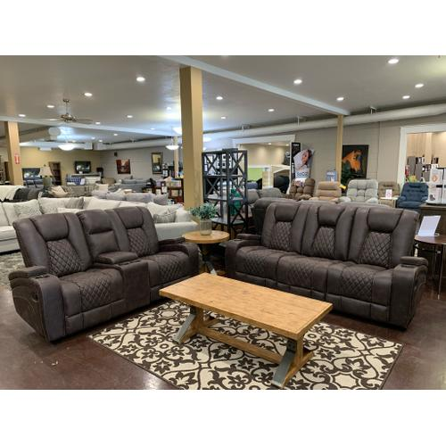 Reclining Sofa with Table and Light- Brown