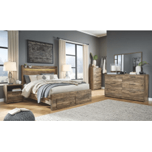 Rusthaven- Brown- Dresser, Mirror, Chest, Nightstand & Queen Panel Bed with 2 Storage Drawers