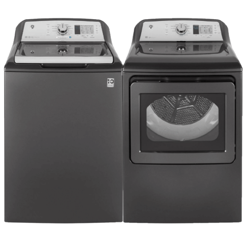 GE 4.5 cu. ft. Washer w/ Stainless Steel Basket & 7.4 cu. ft. Electric Dryer with HE Sensor Dry- Grey