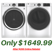 GE Freshvent Laundry Pair with Microban technology 4.8 Cu. Ft. Washer and a 7.8 Cu. Ft. Gas Dryer