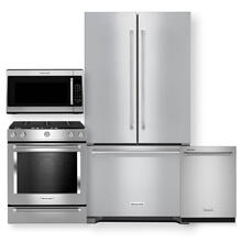 """See Details - KITCHENAID 36"""" Counter Depth French Door Refrigerator & Gas Slide-In Convection Range 4 Pc Package- Open Box"""