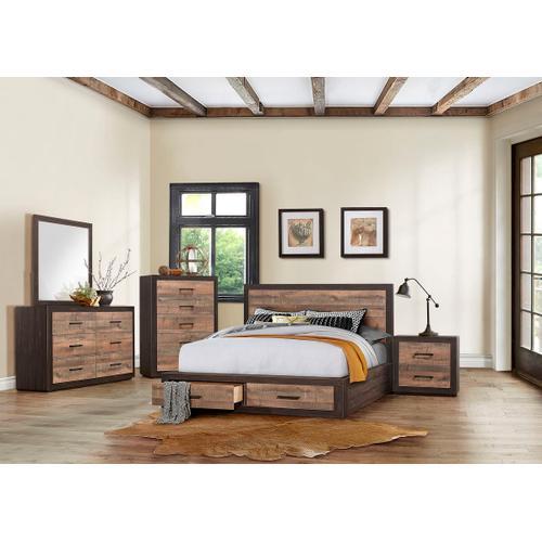 Miter Qn Storage Bed, Dresser, Mirror and Nightstand