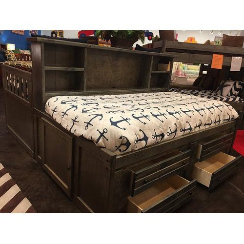 """Twin Captains Bed W"""" 4 Drawers Cocoa"""
