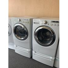 Refurbished White Electric LG Washer Dryer Set on Pedestals. Please call store if you would like additional pictures. This set carries our 6 month warranty, MANUFACTURER WARRANTY AND REBATES ARE NOT VALID (Sold only as a set)