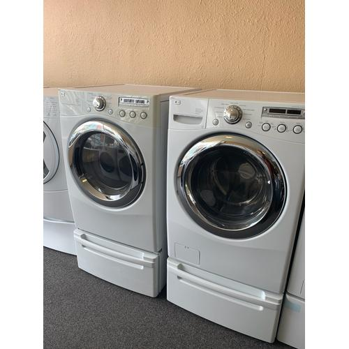 Product Image - Refurbished White Electric LG Washer Dryer Set on Pedestals. Please call store if you would like additional pictures. This set carries our 6 month warranty, MANUFACTURER WARRANTY AND REBATES ARE NOT VALID (Sold only as a set)