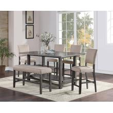 Auburn Charcoal Dinette Table, 4 Bar Stools and Bench
