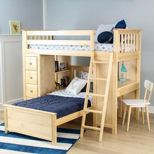 Jackpot Kensington All in One Loft Bed Storage Study Twin Bed In Natural Finish