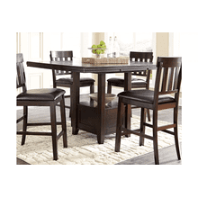 Haddigan - Dark Brown - 5 Pc. - Rectangular Counter Extension Table & 4 Upholstered Barstools