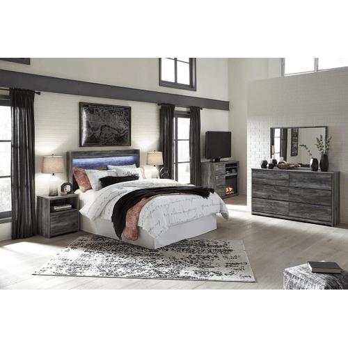 Baystorm- Gray- Dresser, Mirror, Media Chest, Nightstand, Queen Panel Bed