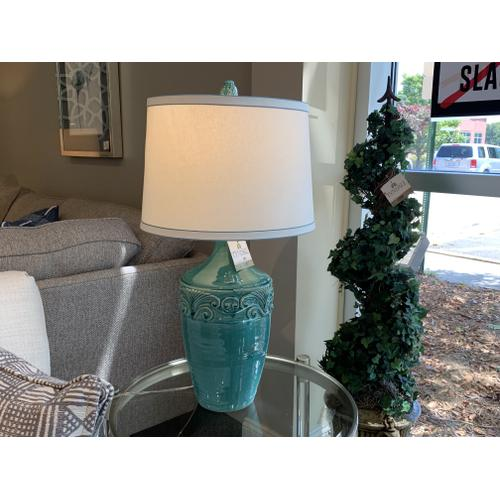 Teal Blue Ceramic Glazed Table Lamp with Decorative Shade