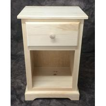 Maine Made Traditional 1 Drawer Nightstand Narrow Pine Unfinished