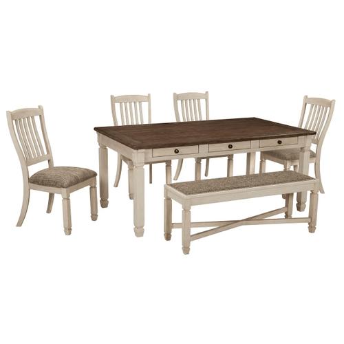 Bolanburg - Antique White - 6 Pc. - Rectangular Table, 4 Upholstered Side Chairs & Upholstered Bench
