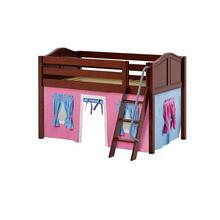 Low Loft w/ Angle Ladder & Curtain : Twin : Chestnut : Curved
