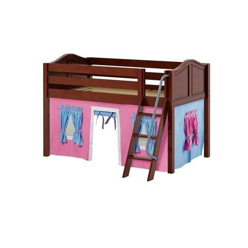 See Details - Low Loft w/ Angle Ladder & Curtain : Twin : Chestnut : Curved