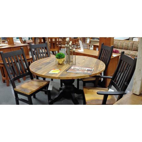 "Amish Craftsman - Kowan Reclaimed Barnwood 54"" Round Table & Chairs"