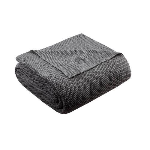 Bree Charcoal Knit Blanket