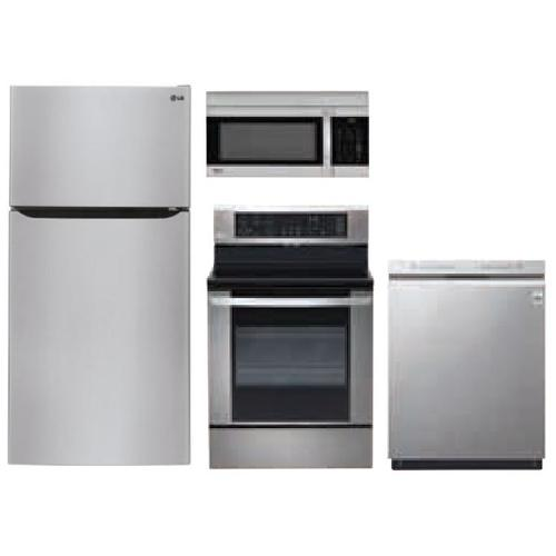 LG 4-Piece Stainless Steel Kitchen Package with Top Freezer Refrigerator