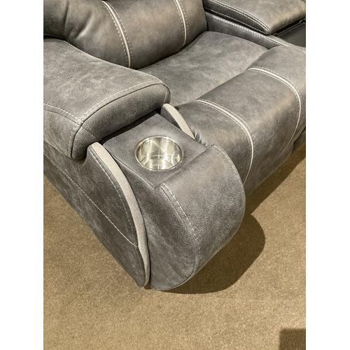 Warehouse M - 6PC LAY FLAT POWER  RECLINING SECTIONAL in Steel WITH STORAGE CONSOLE, ARM CUP HOLDERS - USB      (WARE-264ST)