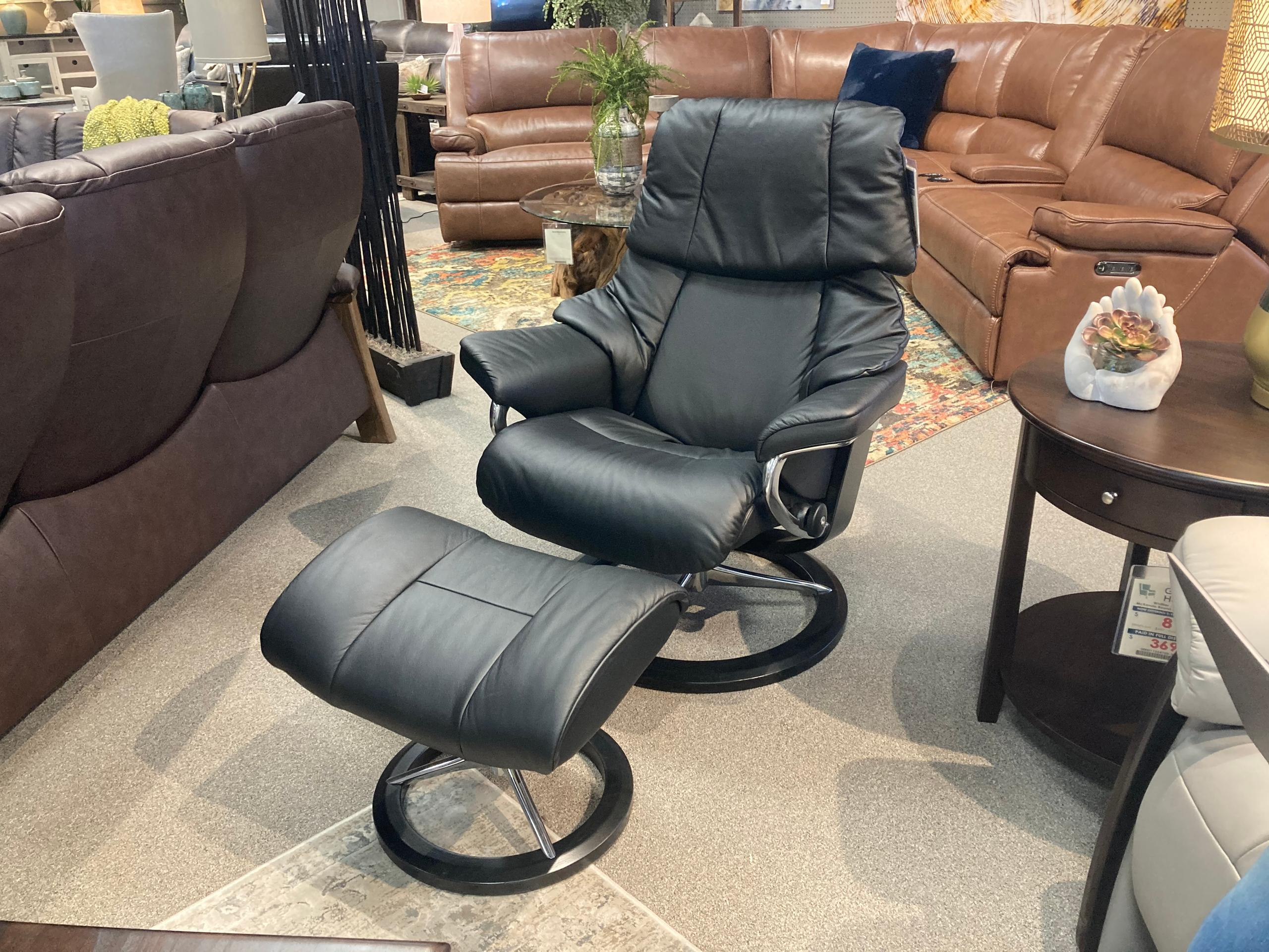 Stressless By EkornesStressless Reno Medium Signature Base Chair And Ottoman