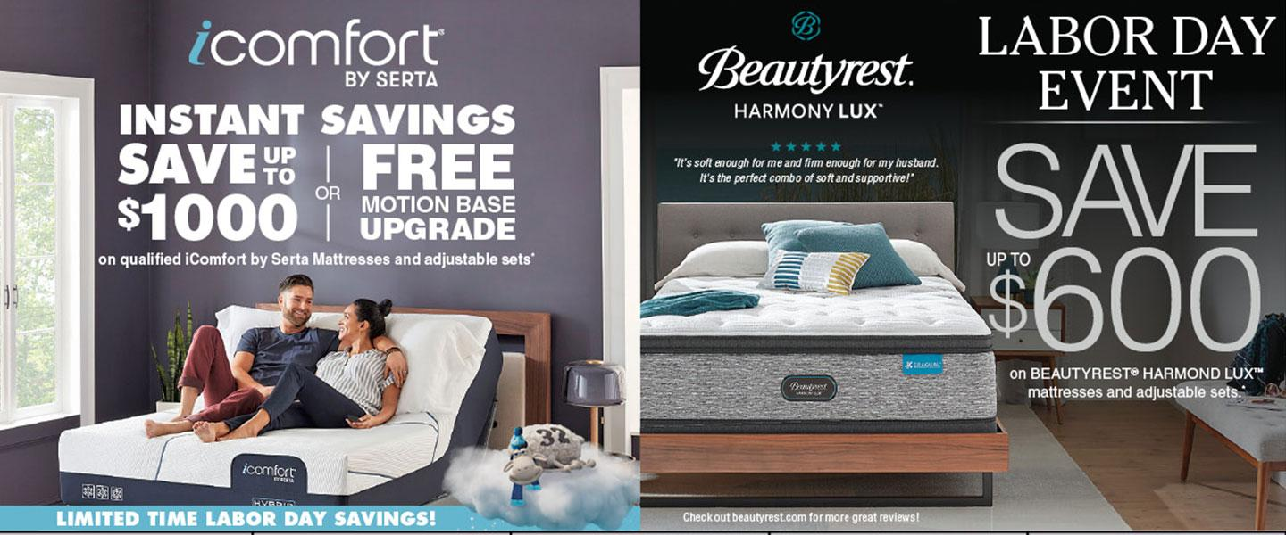Beautrest and Serta Labor Day Savings