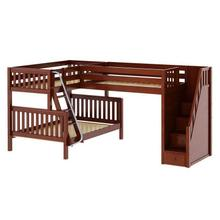 Corner Twin over Full Bunk w/ Angle Ladder & with Twin Loft & Staircase : Slat In Chestnut Finish