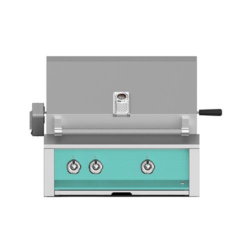 """Aspire By Hestan 30"""" Built-In U-Burner, Sear and Rotisserie Grill NG Turquoise"""