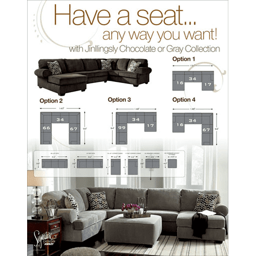 Jinllingsly - Gray - 3-Piece Sectional with Right Facing Chaise