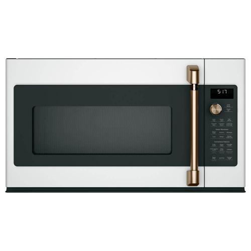 GE Cafe 1.7CF Matte White with Rose Gold handle Convection Over the Range Microwave